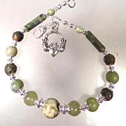 SOLD ISOLDE Bracelet Irish Connemara Marble Green Garnet Rhyolite Claddagh Celtic Medieval Sty
