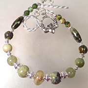 SOLD ISOLDE Bracelet 2 Irish Connemara Marble Green Garnet Rhyolite Claddagh Celtic Medieval S