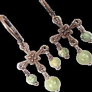 QUEEN OF TARA Earrings Irish Connemara Marble Rhyolite Bronze Celtic Medieval Style
