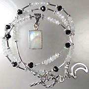 SOLD MORGAN LE FAY Necklace Rainbow Moonstone Mystic & Jet Crystal Celtic Medieval Style
