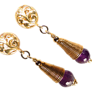 SOLD Anne Boleyn Wears Purple - Earrings Amethyst 24K GV Cones Tudor Renaissance Style