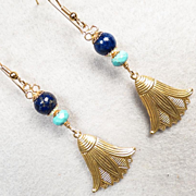 SOLD GODDESS ISIS Earrings Lapis Magnesite Turquoise Lotus Flowers 14K GF Ancient Egyptian Sty