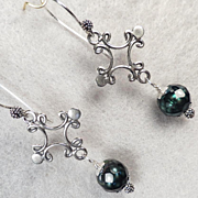 ESCLARMONDE Earrings Byzantine Cross Teal Cultured Pearls Sterling Silver Medieval Style