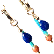 EGYPTIAN GODDESS Earrings Lapis Turquoise 14K GF Hoops Ancient Egyptian Style