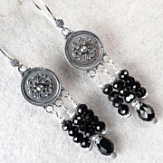 SOLD ESCLARMONDE Earrings Silver Shields Jet Crystal Medieval Byzantine Style