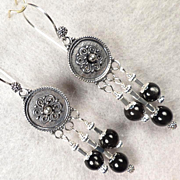 ESCLARMONDE Earrings Black Scapolite Sterling Shields Medieval Byzantine Style