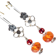 FREYA'S FLOWERS Earrings Vintage Baltic Honey & Cherry Amber Silver Norse Medieval Style