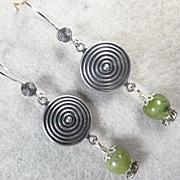 QUEEN OF TARA Earrings Irish Connemara Marble Spirals Celtic Medieval Style