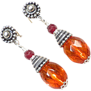 SOLD TSARINA Earrings Vintage Faceted Honey Amber Garnet Silver Russian Medieval Style
