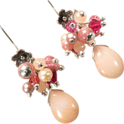The Great Inca Priestesses Earrings Rhodochrosite Pink Peruvian Opal
