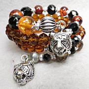 SOLD CATERINA THE TIGRESS Coil Bracelet Baltic Amber Vintage French Jet Glass Tawny Crystal Re