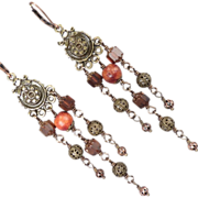 SOLD ALIENA Earrings Czech Cathedral Beads Rosewood Bronze Medieval Style