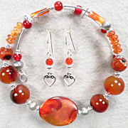 LADY FIREHEART Set Spiderweb Carnelian Spice Garnet Banded Agate Set Collar Earrings Medieval