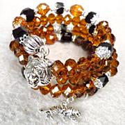 SOLD CATERINA THE TIGRESS Coil Bracelet Vintage French Jet Glass Amber Crystal Renaissance Sty