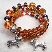SOLD England My Lionheart Coil Bracelet Baltic Amber Garnet Carnelian Spessartite Vintage Tort