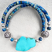 SOLD GODDESS ISIS Collar Necklace Magnesite Turquoise Sea-Sediment Jasper Ancient Egyptian Sty
