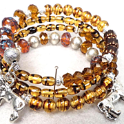 England My Lionheart Coil Bracelet Vintage Tortoiseshell Glass Czech Tawny & Topaz Art Gla