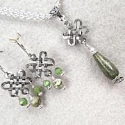 ISOLDE Set Irish Connemara Marble Nephrite Jade Celtic Medieval Style