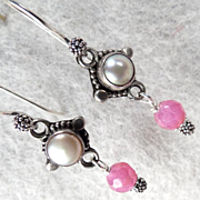 SOLD Isabella Longs For Love Earrings Rubies Cultured Pearl Silver French Medieval Style