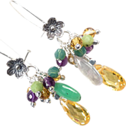 SOLD FORSYTHIA Cascade Earrings Canary Yellow Cubic Zirconia Nephrite Jade Amethyst Swarovski