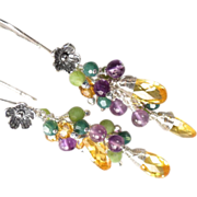 SOLD FORSYTHIA Earrings 2 Canary Yellow Cubic Zirconia Amethyst Green Nephrite Jade Swarovski