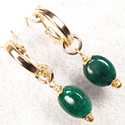 VENUS IN GREEN Earrings Gem Emeralds 14K GF Hoops Ancient Roman Goddess