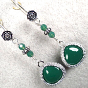 VENUS IN GREEN Earrings Emerald-Color Quartz Glass Silver Roses Ancient Roman Goddess