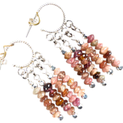 SOLD PINK TOURMALINE Hoop Earrings Multi-Strand Silver Byzantine Medieval Style