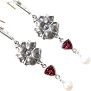 SOLD TUDOR ROSE Earrings Garnet Cultures Pearl Roses Silver Renaissance Style