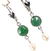 VENUS IN GREEN Earrings Emerald Cultured Pearl Silver Hearts Ancient Roman Style