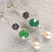 VENUS IN GREEN Earrings Emerald Cultured Pearl Silver Roses Ancient Roman Style