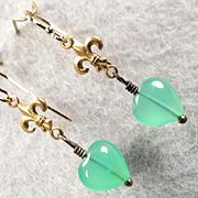 MELUSINE Earrings Chrysoprase Fleur-De-Lys 14K GF & Bronze Medieval Water Enchantress