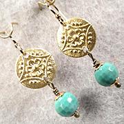 Queen Of Sheba Petite Earrings African Opal Hammered Brass Ancient Biblical Queen