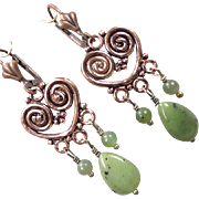 SOLD CLIODNA Of The Waves Earrings Green Nephrite Jade Copper Bronze Celtic Medieval Style