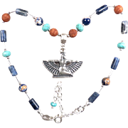 SOLD GODDESS ISIS Anklet Magnesite Turquoise Sodalite Terra-Cotta Glass Ancient Egyptian Style