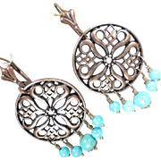 SYBILLA OF JERUSALEM Earrings Asian Turquoise Copper Chandeliers Medieval Crusader Queen