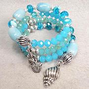 YEMAYA Coil Bracelet Amazonite Czech Art Glass Ancient African Sea Goddess