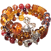 SOLD England My Lionheart Coil Bracelet Baltic Amber Carnelian Garnet Red Agate Vintage Tortoi