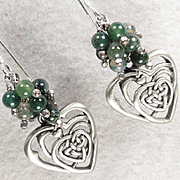 ISOLDE Earrings Moss Agate Entwined Hearts Celtic Medieval Style