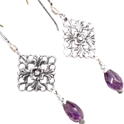 SOLD Anne Boleyn Wears Purple Earrings Violet Amethyst Briolettes Filigree Charms Tudor Renais