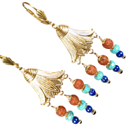 EGYPTIAN GODDESS Earrings Lapis Turquoise 'Terra-Cotta' Glass Lotus Blossom Ancient Egyptian .