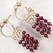 SOLD Byzantine Medieval Style Hoop Earrings 24K GV Faceted Garnets