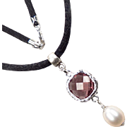 Anne Boleyn Wears Purple - Necklace Violet Glass Cultured Pearl Tudor Renaissance Style