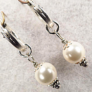 TUDOR PEARL Earrings Silver Hoops Swarovski Crystal Pearls Tudor Renaissance Style