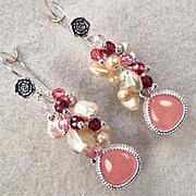 SOLD NAHEMA Earrings Garnet Strawberry Quartz Glass Cultured Pearl Swarovski Crystal Pearl Ros