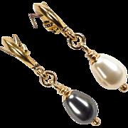 SOLD Venus At A Mirror Earrings Black & White Swarovski Crystal Pearls Half Hoops