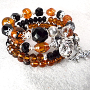 CATERINA THE TIGRESS Coil Bracelet Vintage French Jet Glass Amber Crystal Renaissance Style