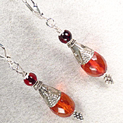 TSARINA Earrings Vintage Faceted Honey Amber Cherry Amber Silver Russian Medieval Style