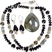 SOLD Queen Catherine's Mirror Set - Labradorite Mineral Jet Black Onyx Jet Crystal French Rena