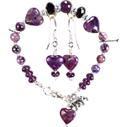 SOLD From Russia with Love Set - Bracelet Earrings Charoite Sugilite Amethyst Jet Crystal
